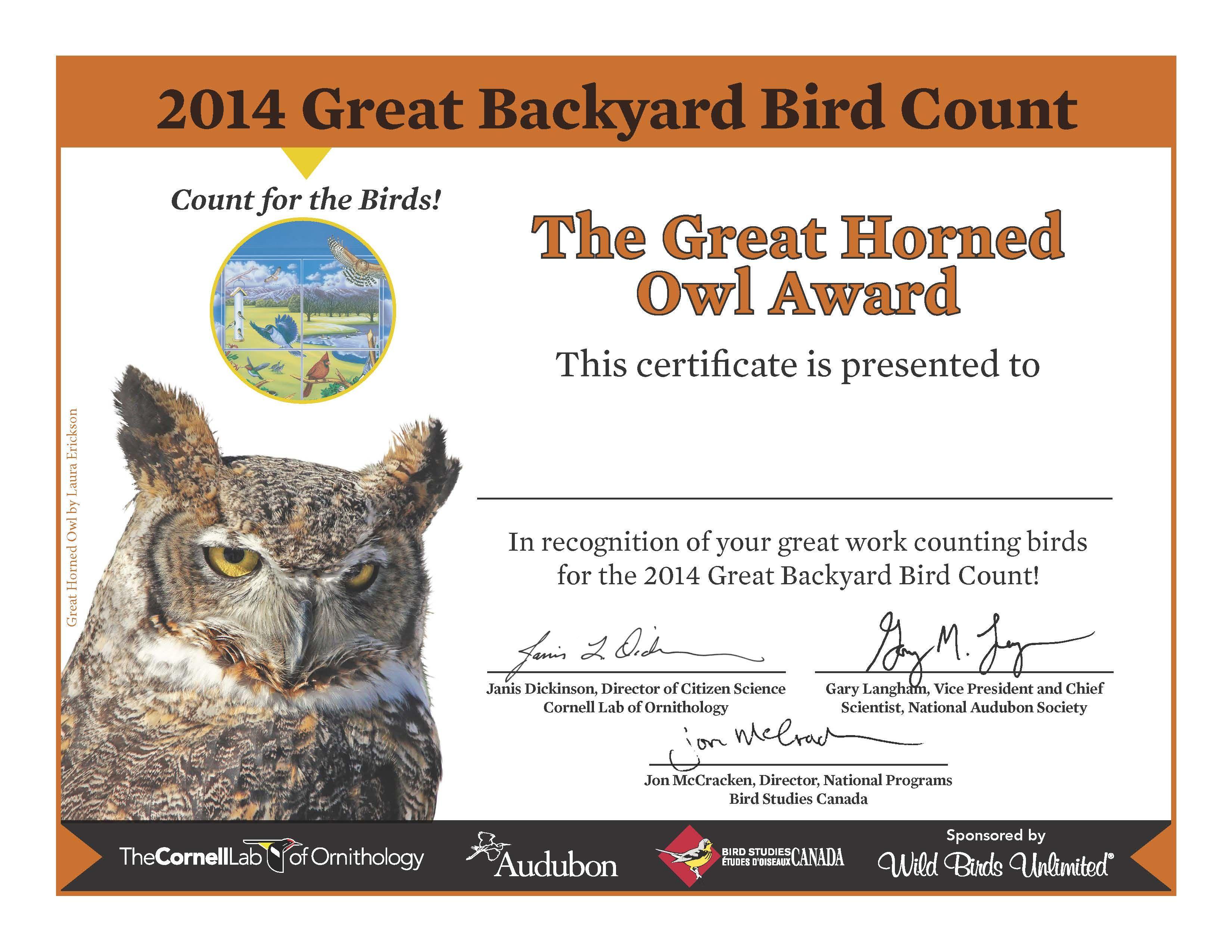 Cornell Backyard Bird Count - BACKYARD HOME