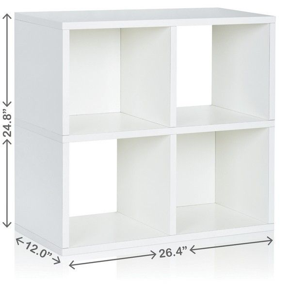 Quad Cube White Eco Friendly Modular Open Cube Storage Under Desk Storage Storage Shelves Bookcase Storage