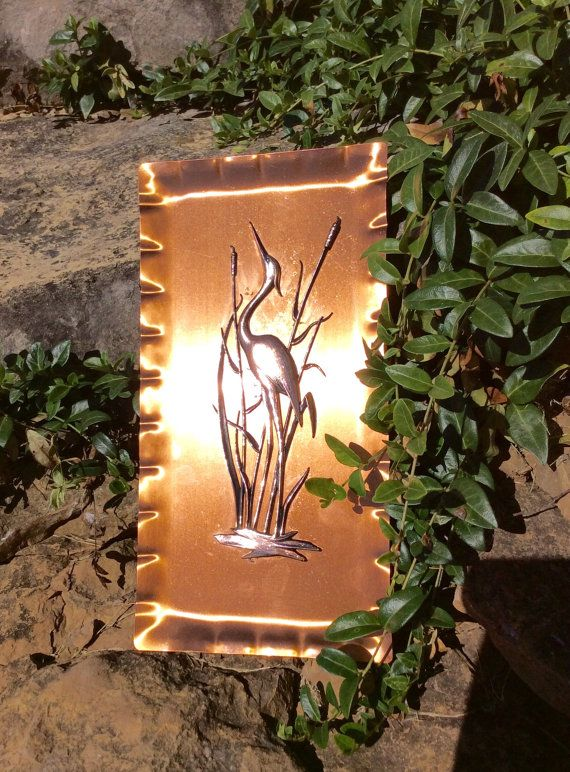 Vintage Copper Egret Wall Plaque Crane by YellowHouseDecor on Etsy
