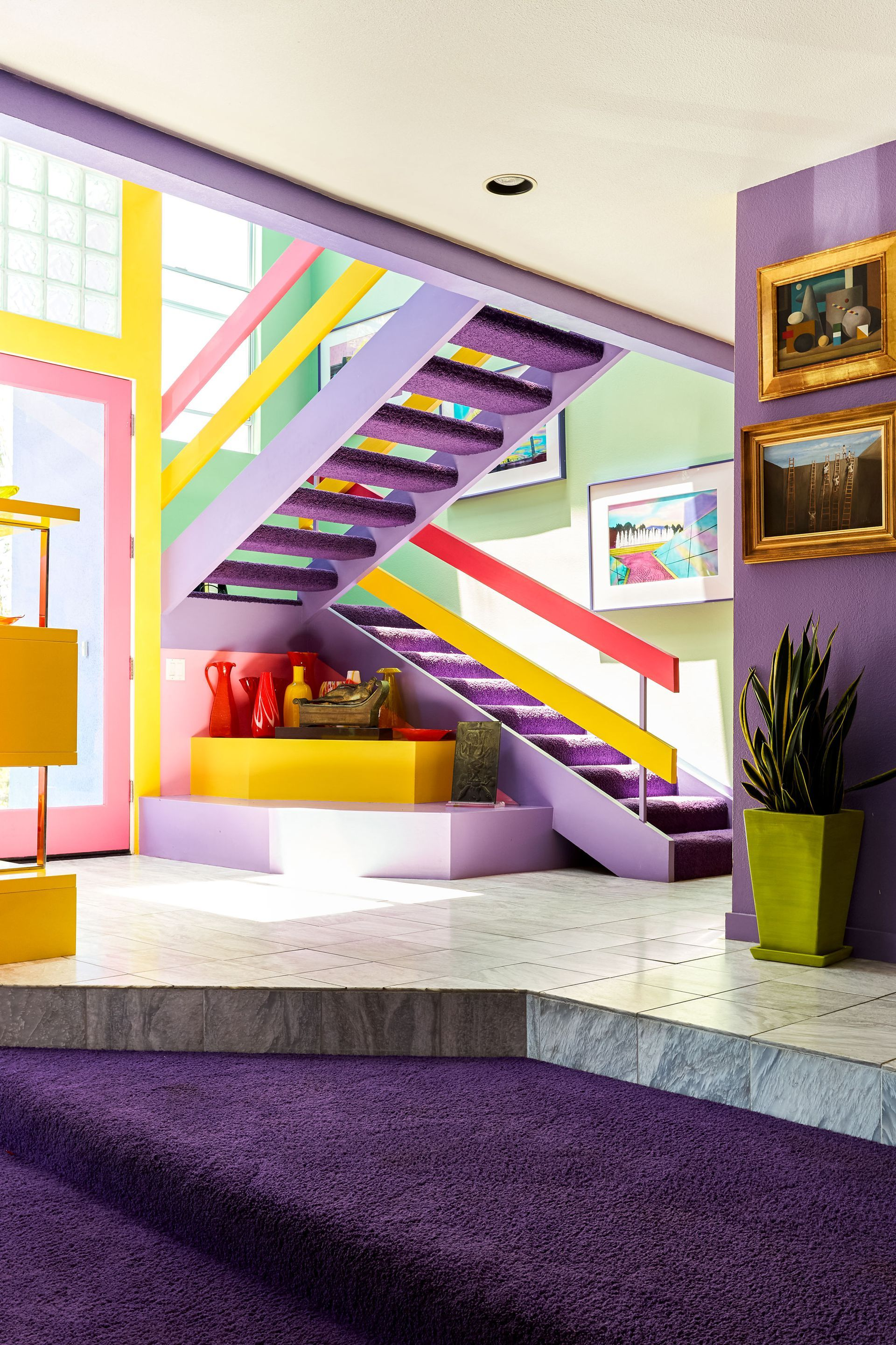 Artist S Home In Santa Barbara Is A Color Lover S Dream With Images Italian Furniture Modern House Tours Hallway Designs