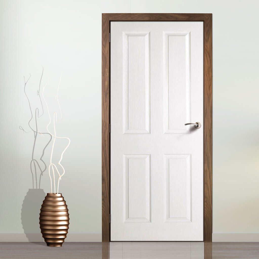 White door with natural wood trim | White interior doors ...