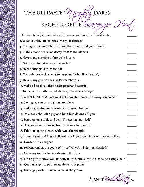 Bachelorette Scavenger Hunt Maybe As A Compeion With Groomsmen For Bachelor Party