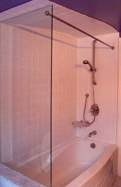 Glass Panel Mounted Shower Rod Ceramic Tile Advice