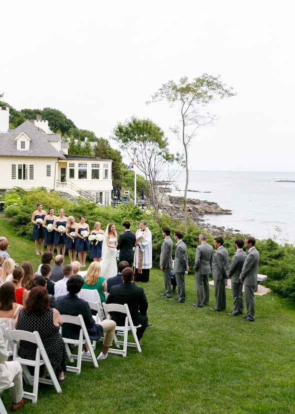 Wedding Ceremony By The Sea At York Harbor Reading Room In Maine
