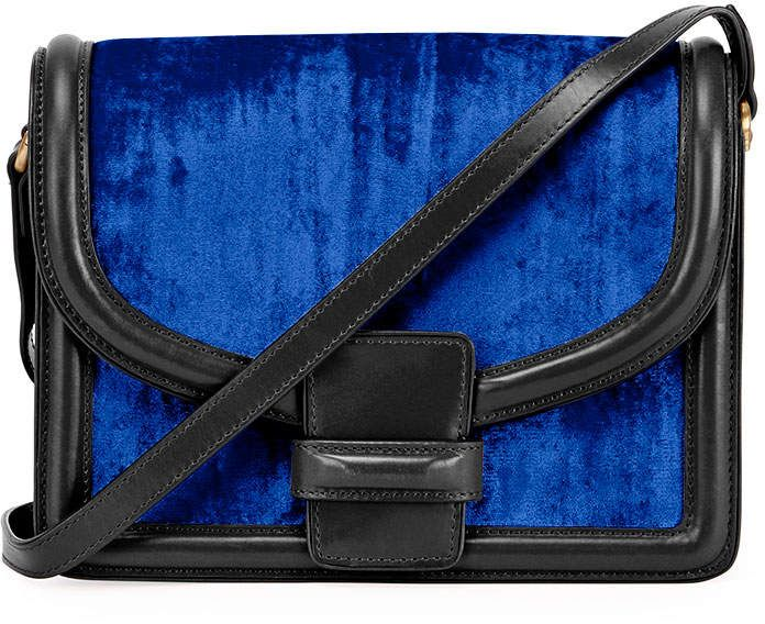 52de85dc2770 Dries Van Noten Large Velvet Shoulder Bag, Blue | Products | Bags ...