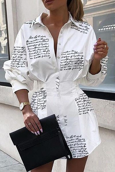 New Fashion Women Long Sleeves Single Breasted Collared Casual Shirt Dress Party