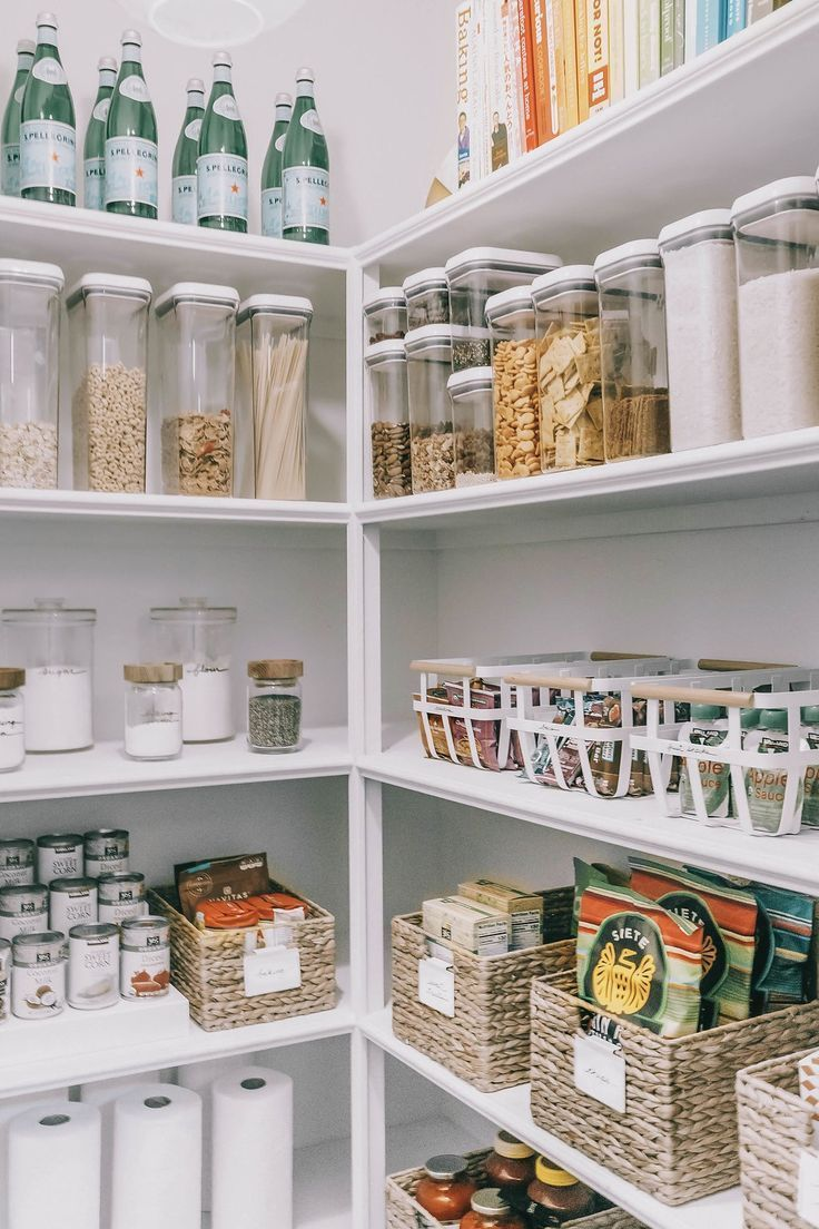 Pantry Organization. How to organize your pantry. Organizing pantry baskets. Tips and tricks for organizing your pantry. How to label food in your pantry.   #pantryorganization #kitchenorganization #organizinghacks  Our Home : One Pantry, Two Ways – Mika Perry