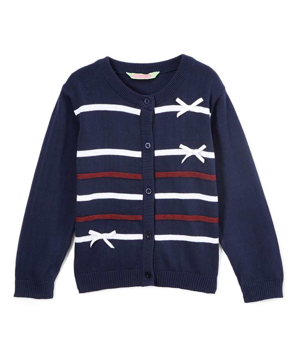 21e20a81fe4 Navy Stripe Bow Cardigan - Infant Toddler   Girls