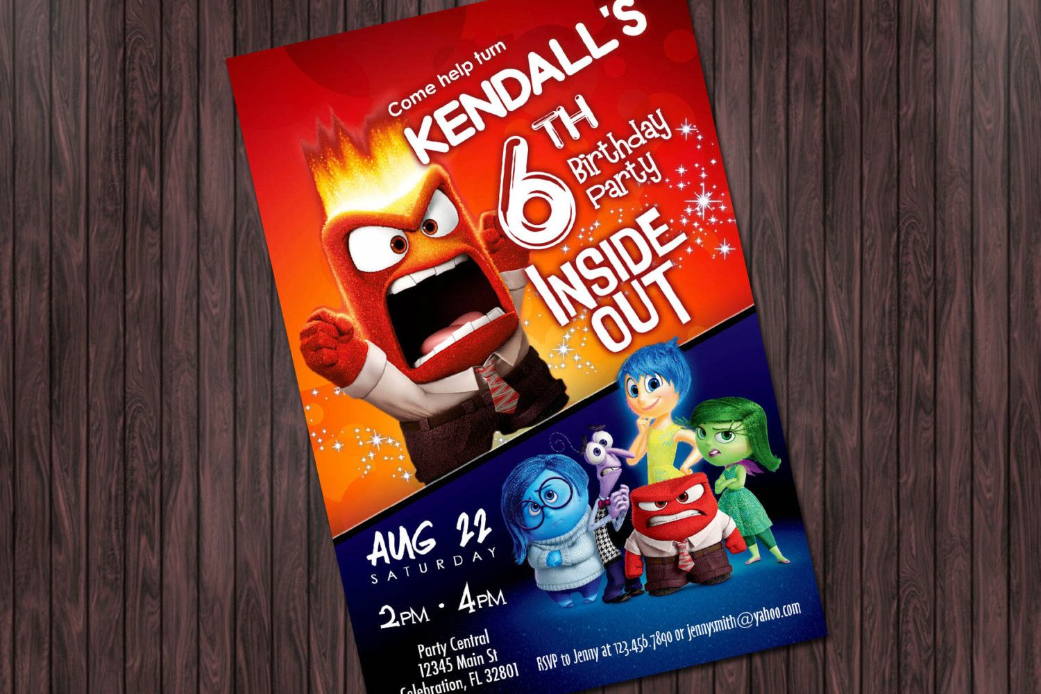 Inside Out Anger Printable Birthday Party Invitation