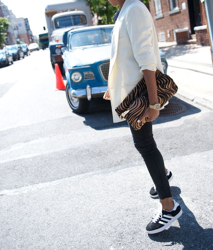 78fb27d24e9 jessakae* adidas* distressed jeans* leather jacket* blonde hair* updo* street  style* style* fashion* womens fashion