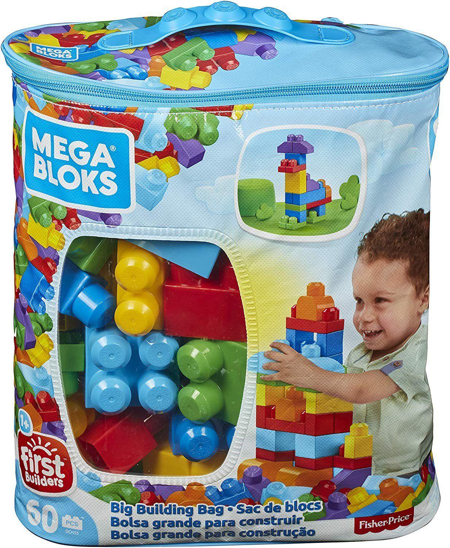 Mega Bloks Classic Buildable Building Blocks Playset Bag of 60 Pieces Blue