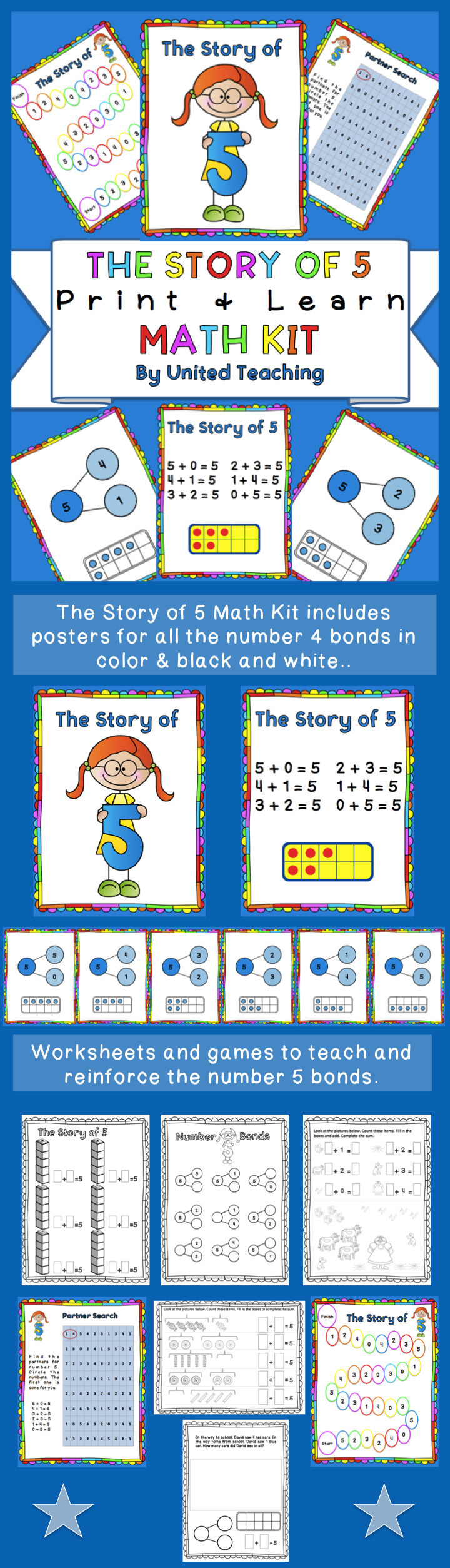 The Story of 5 Print + Learn Math Kit | Common core standards, Core ...