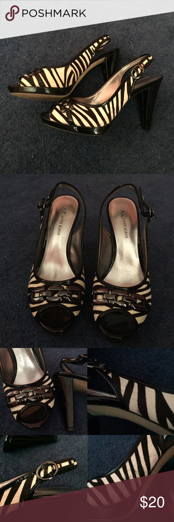 ak anne klein zebra print heels size 7&a half. black and off white. pony hair type zebra print. some frayed as pictured. pic #3: right side shows flaws .. left side pics show details of the heel! comes with box. send offers :) Anne Klein Shoes Heels