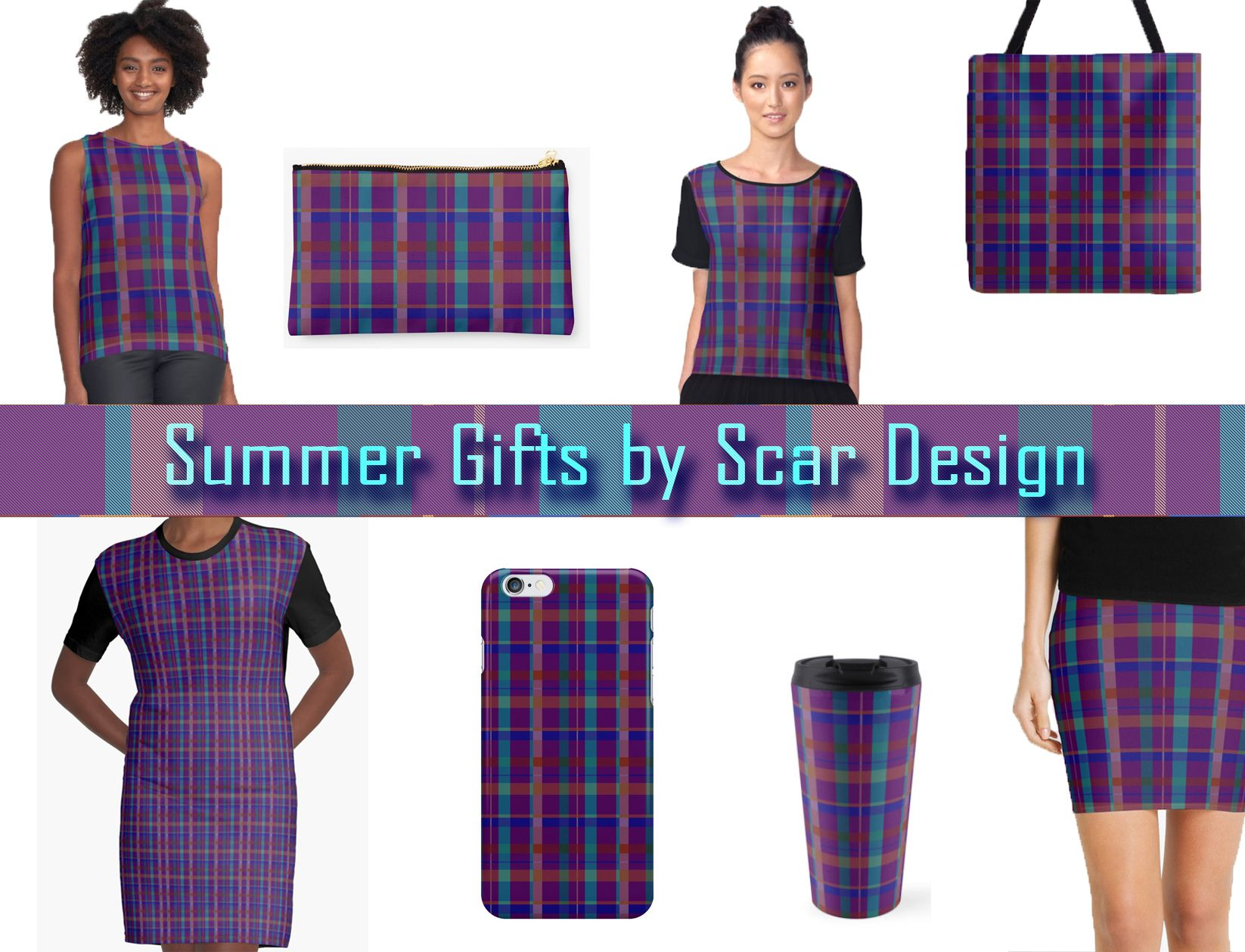 Summer Women's Gift set By Scar Design #summergifts #fashion #summer #beach #beachbag #plaidbag #coolgifts #giftsforher #summerfashion #totebag #summer2016 #womenfashion #womengifts #buygifts #hipster #colorful #style #swag #redbubble #scardesign #plaidgifts #plaid #dress #summerdress #iPhonecase #pouch #skirt #chiffontop #travelmug #tanktop
