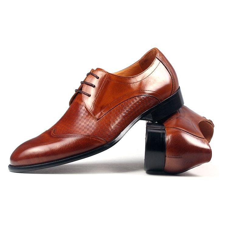 Ferragamo Brown Polished Leather Oxford Men Shoes