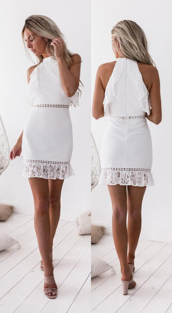 Sheath High Ncek White Lace Short Homecoming Dress with Ruffles #graduationdresscollege