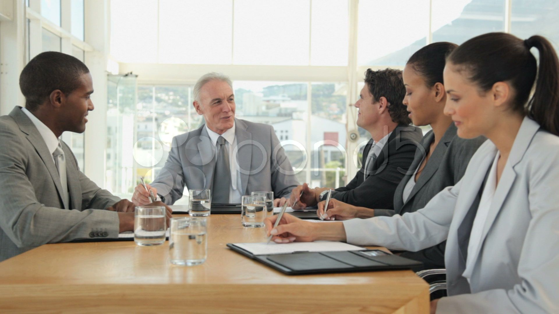 Business Meeting In A Boardroom Stock Footage Meeting Business