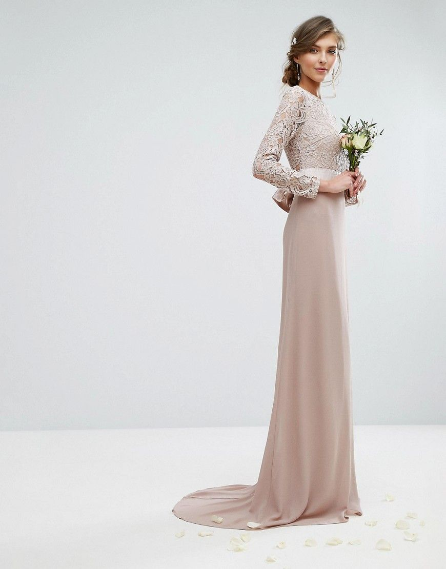 Tfnc tall wedding lace maxi dress with bow back lizding