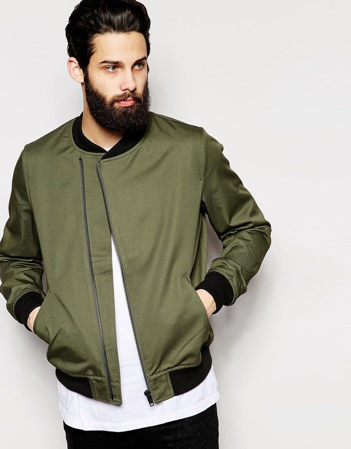 c14e5be52 ASOS BRAND ASOS Bomber Jacket With Asymmetric Zip In Green | Men's ...