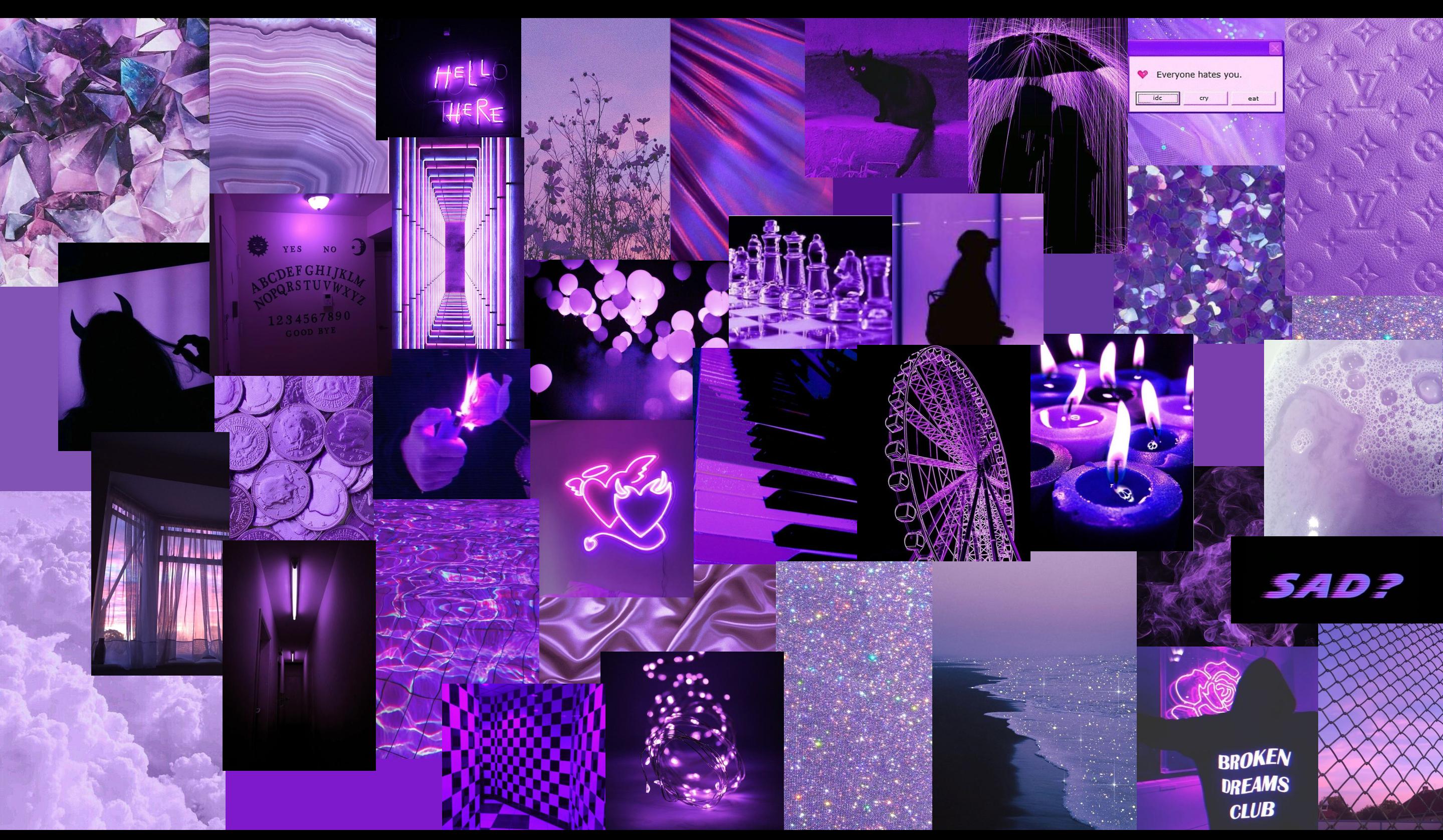 Purple Collage Aesthetic Desktop Wallpaper Macbook Wallpaper Laptop Wallpaper