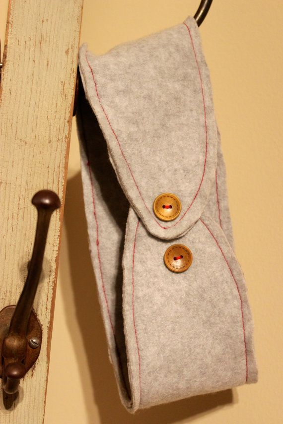 Gray Fleece Ear Warmer with Wooden Buttons by JamieGregoryHandmade
