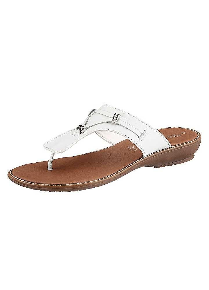 Tamaris White Toe-Post Sandals