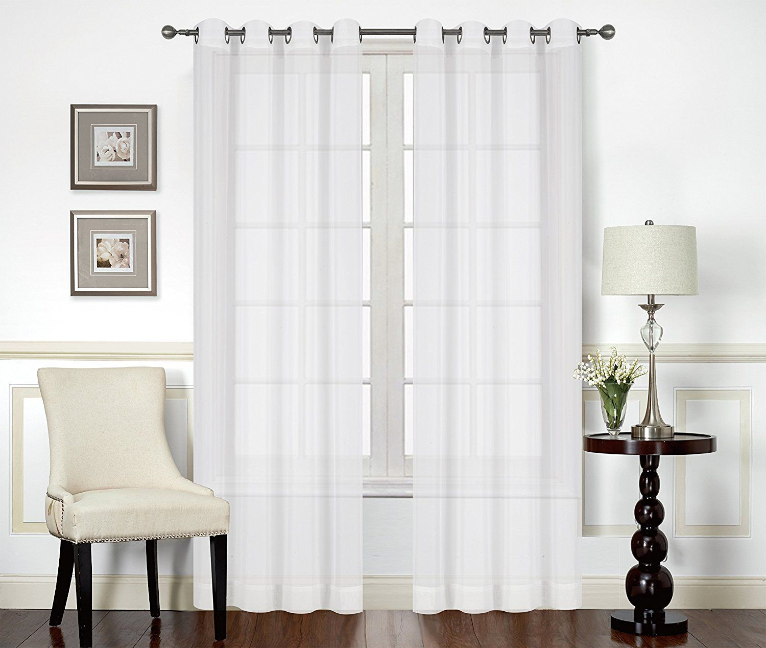 787c44e2494 Premium White Sheer Curtains Sheer Voile White Luxurious High Thread Window  Groomet Curtains 2 Panel Set 52 by 84 Inches by Utopia Bedding