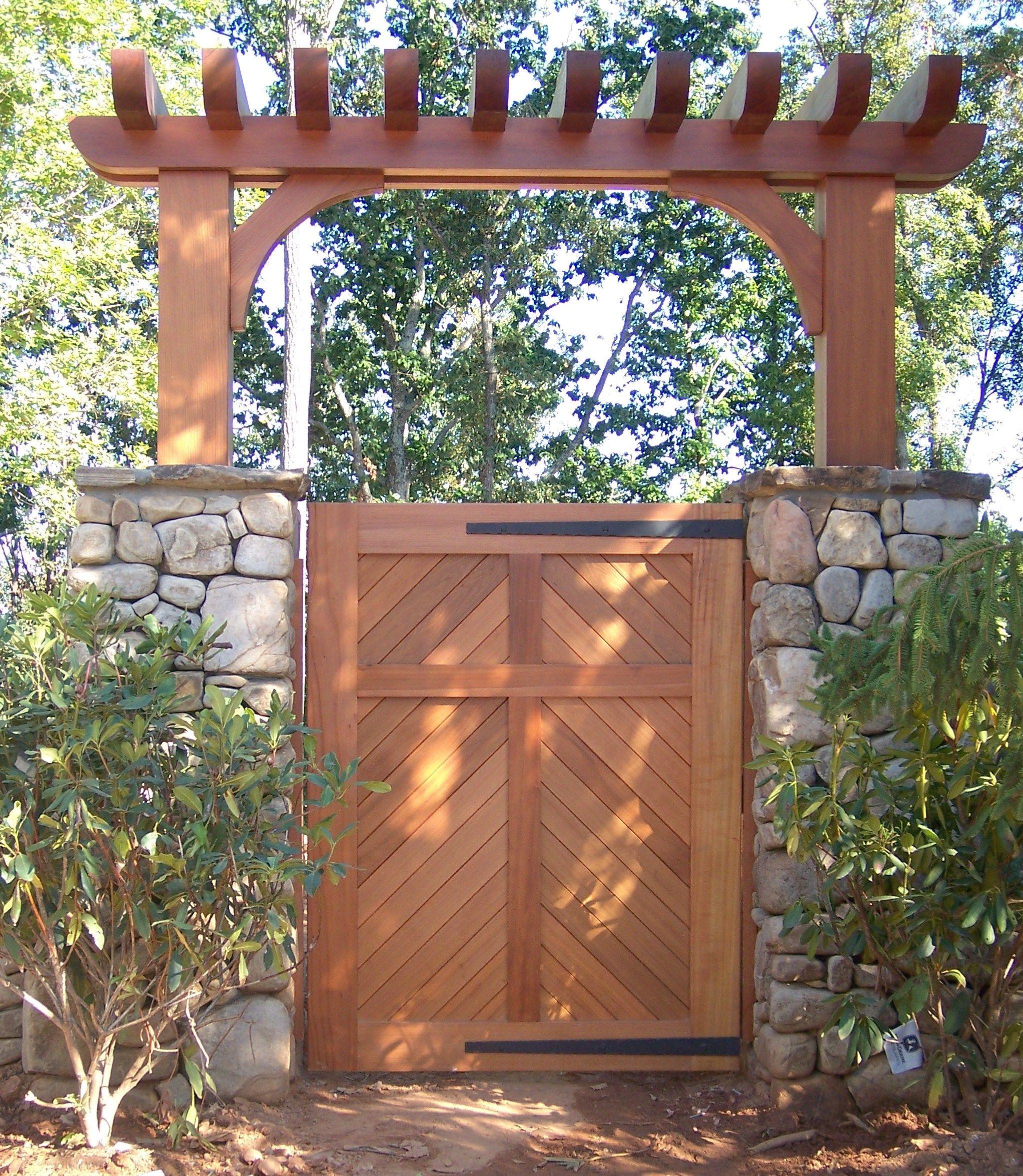 Wonderful Custom Wood Pedestrian Gate With Custom Wood Arbor