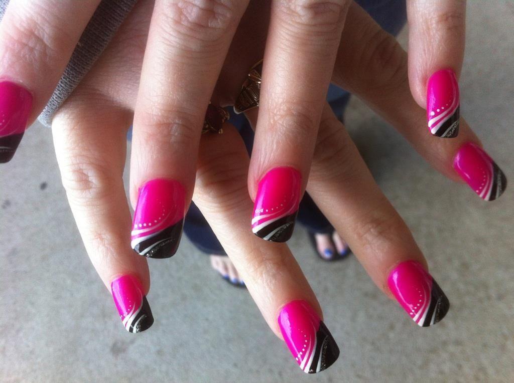 Pin By Stephanie Riggers On My Nail Art Pink Black Nails Hot Pink Nails Gel Nails