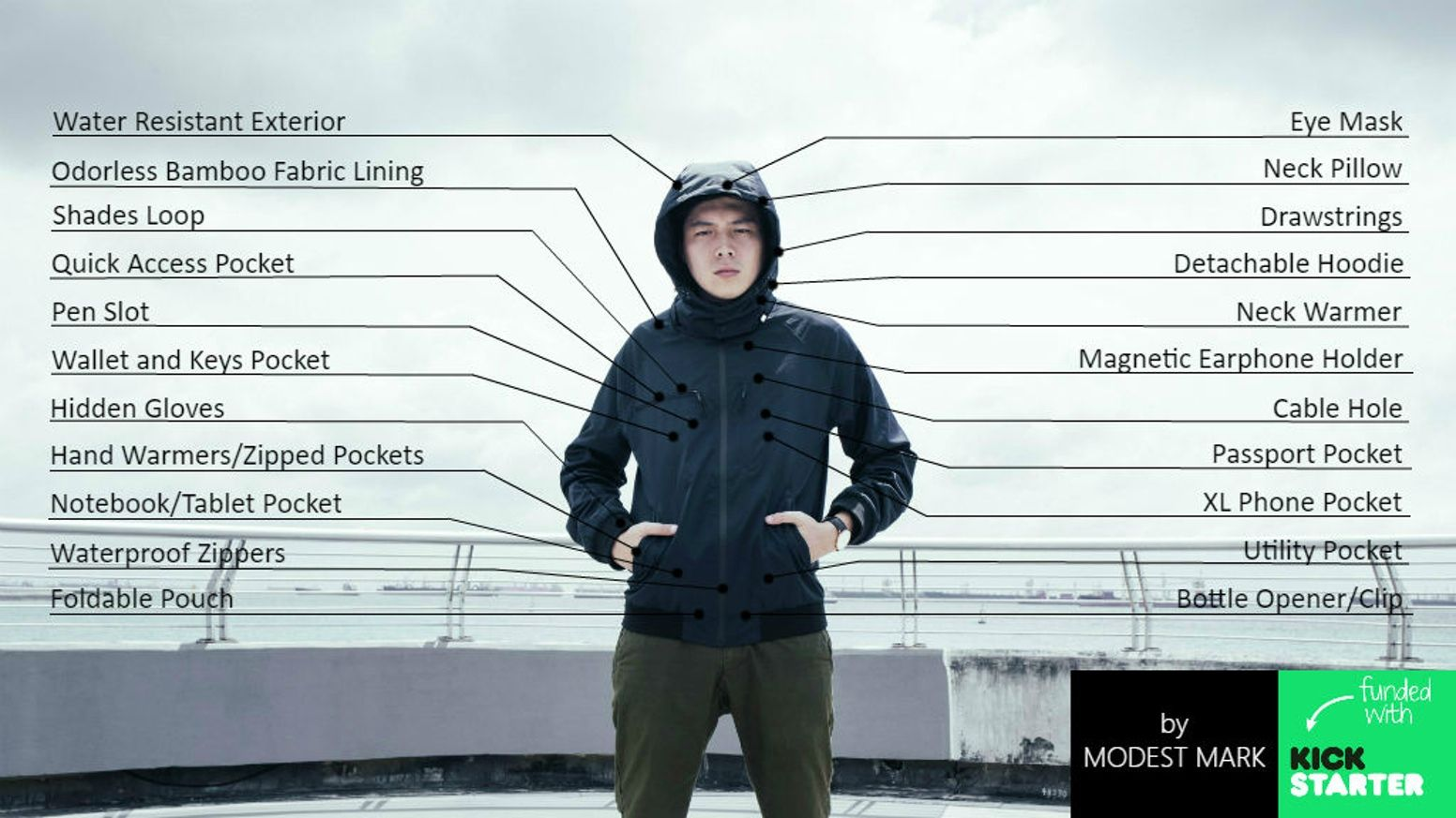The one choice for your everyday outerwear complete with 18 features including water-resist, anti-odor and heat regulating technology.