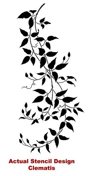 Wall Stencil Large Clematis Branch Reusable Stencil For