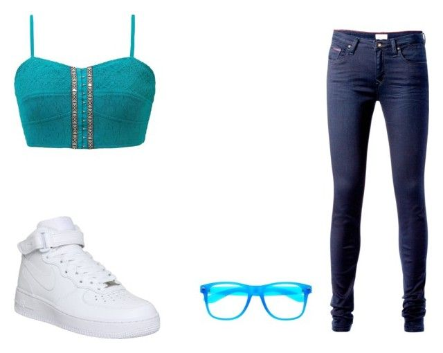 """to the club and back"" by aaliyah-thigpen ❤ liked on Polyvore featuring Gimmicks, NIKE and Tommy Hilfiger"