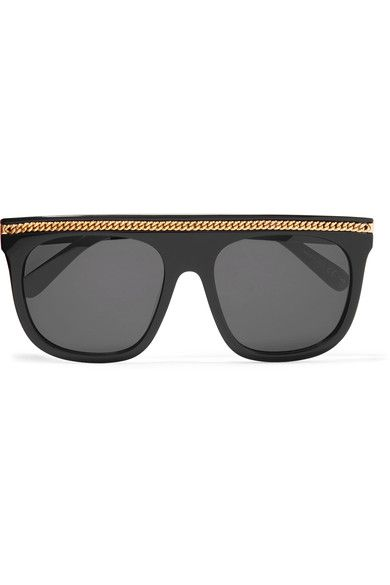 06d95b8122bd STELLA MCCARTNEY fabulous Chain-trimmed black D-frame acetate sunglasses