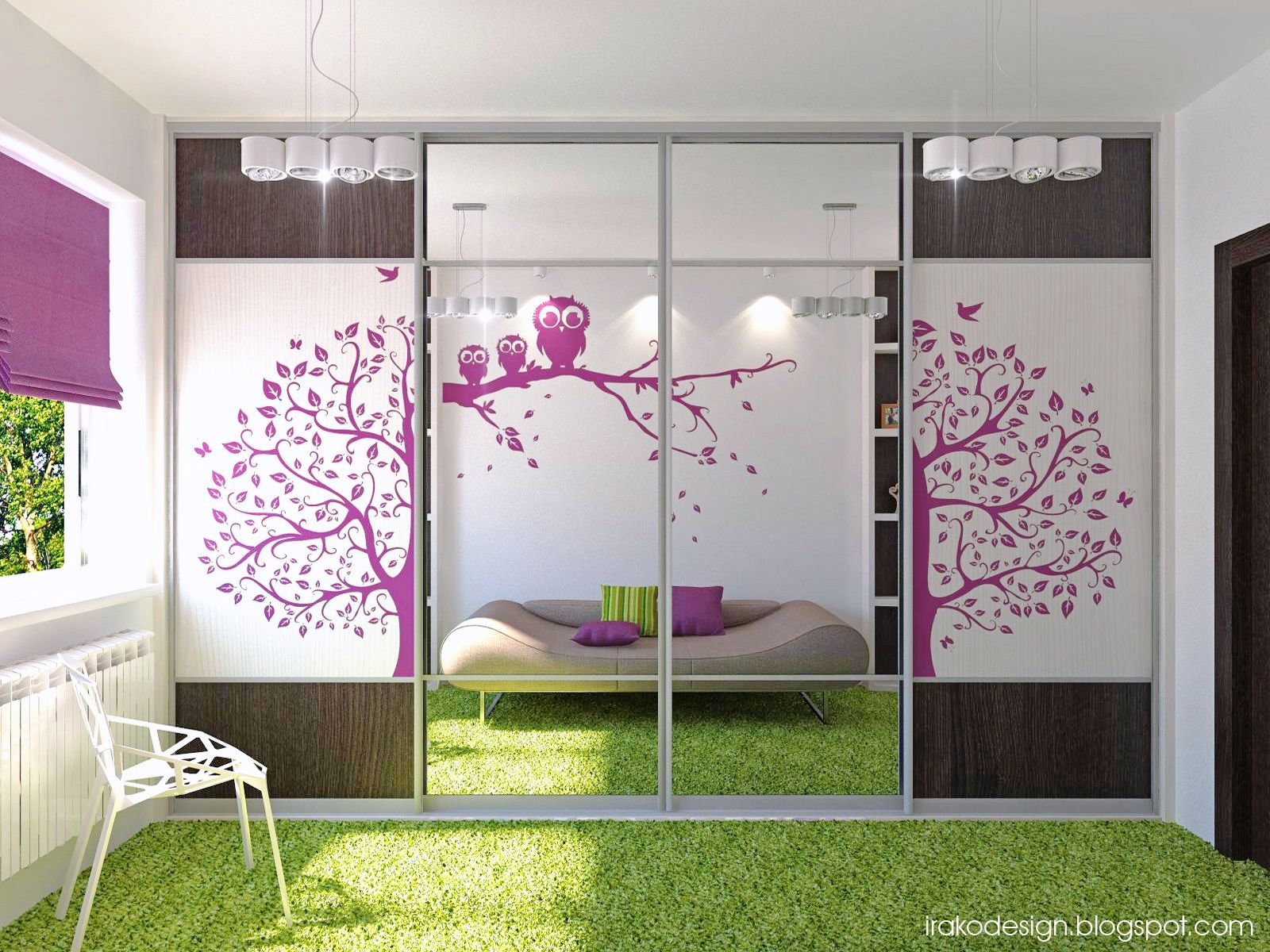 chic white and purple teenage girls bedroom with functional wardrobe and grass synthetic rug by irako - Teenage Girl Bedroom Wall Designs