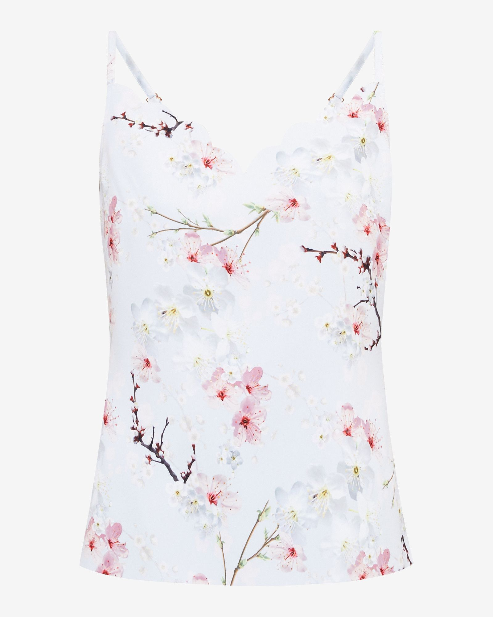 548ebe84c86144 Oriental Blossom cami top - Light Grey