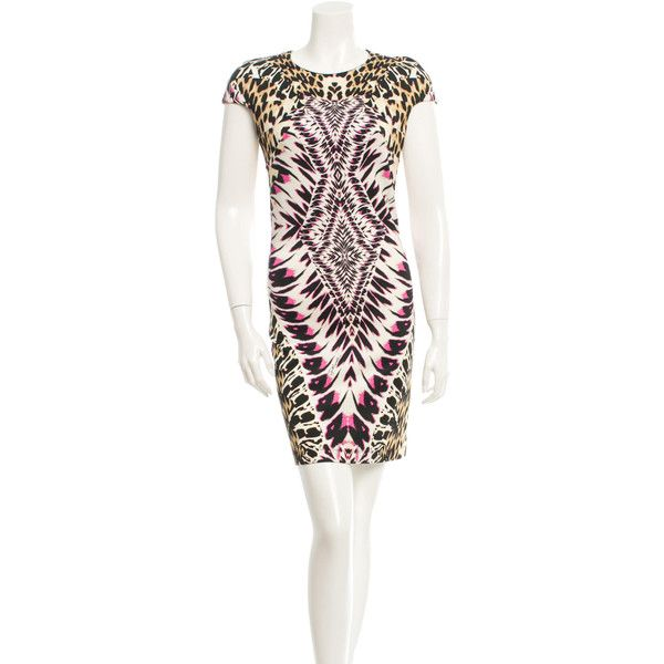 Pre-owned Just Cavalli Dress ($125) ❤ liked on Polyvore featuring dresses, animal print, white cap sleeve dress, white print dress, pattern dress, print dress and white dress