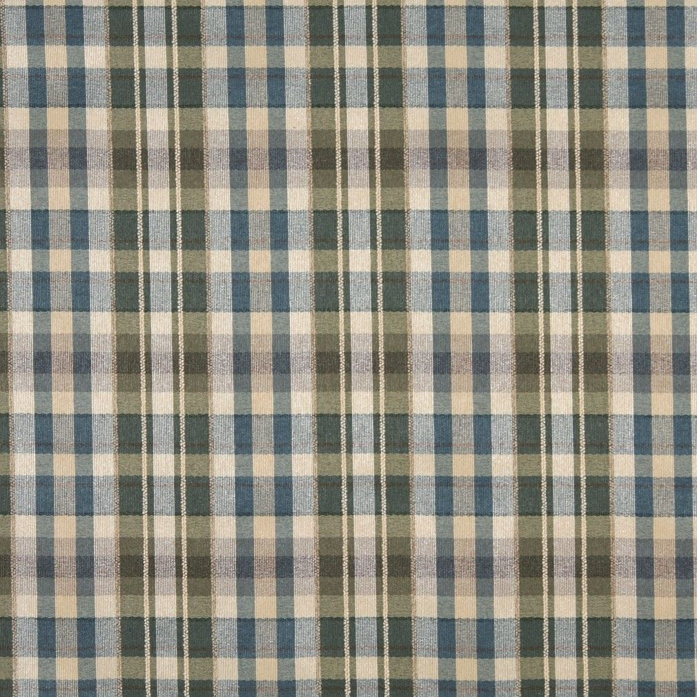 H487 Ivory Blue And Green Textured Plaid Upholstery Grade Fabric