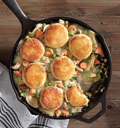 Recipe For Biscuit-Topped Chicken Potpie - As soon as the weather cools down, this is our go-to recipe for an easy Chicken Potpie, best comfort food ever!! AND you can dig in to Nutrition Facts!!