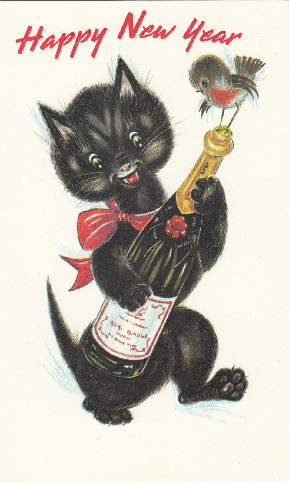Happy new year vintage 1970s greeting card merry champagne black happy new year vintage 1970s greeting card merry champagne black cat kitten for sale kristyandbryce Gallery