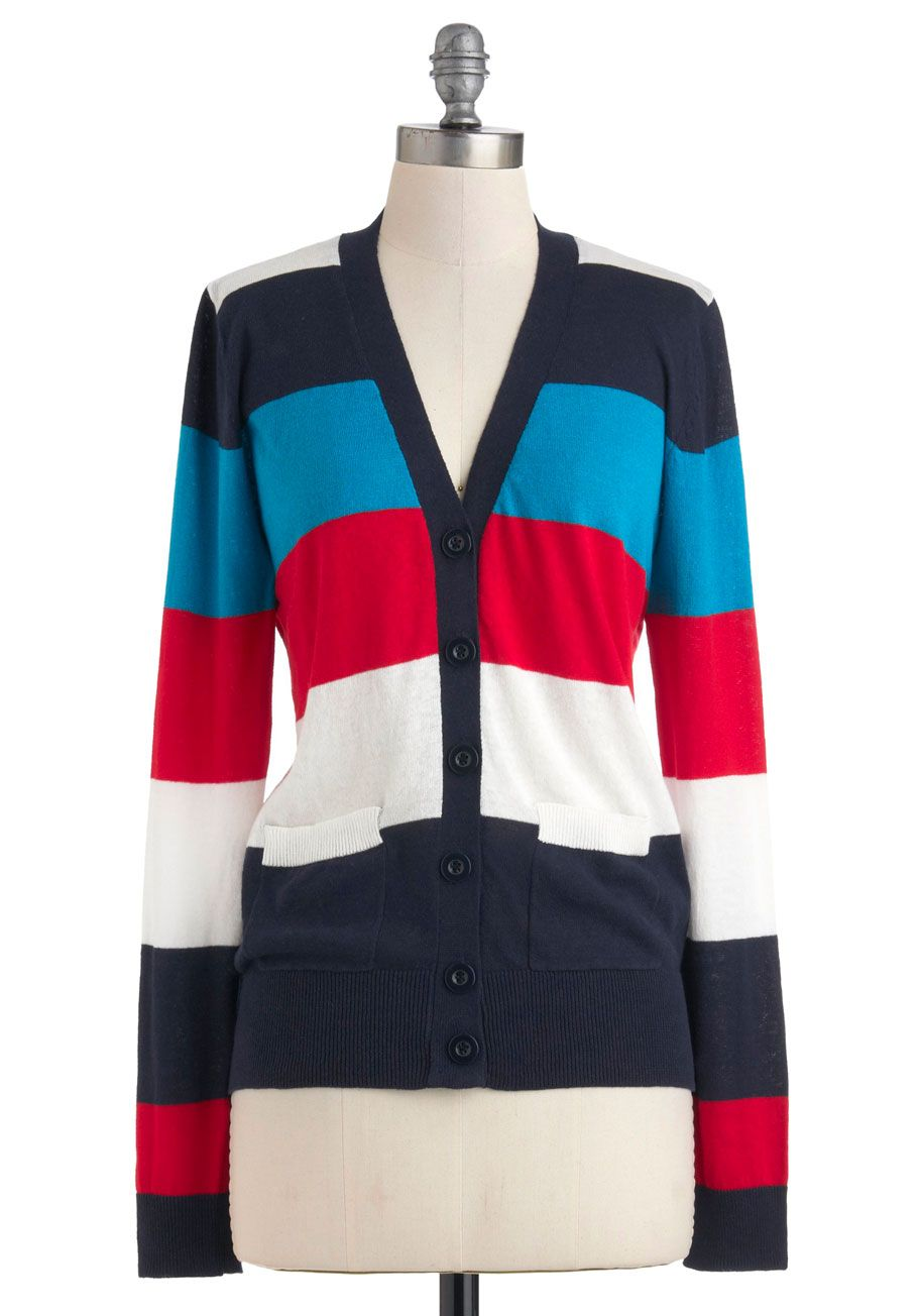 Happy Go Lucky Day Cardigan - Cotton, Mid-length, Multi, Red, Blue, White, Stripes, Buttons, Casual, Long Sleeve, Scholastic/Collegiate, Pockets