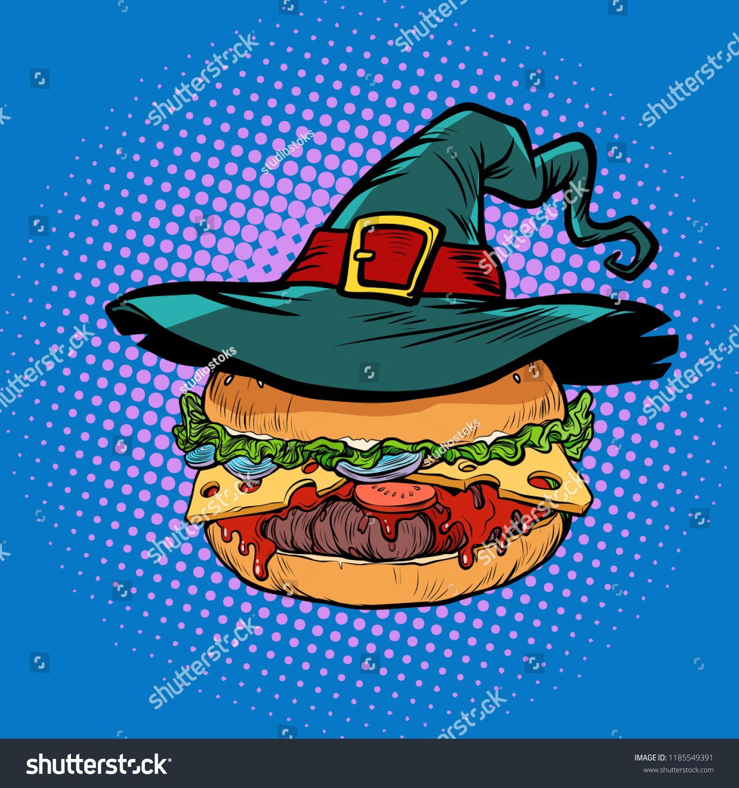 Halloween Burger, fast food holiday. Pop art retro vector