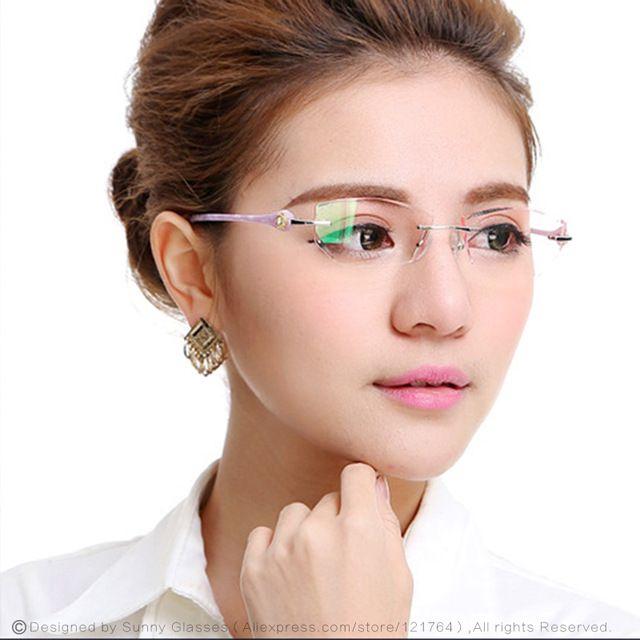 9d6fd4fa729e0 Nova Marca de Moda de Designer Mulheres Óculos De Armação de Óculos Sem Aro  Prescrição Óptica com Caixa Feminino Óculos De Leitura Dos Olhos 616