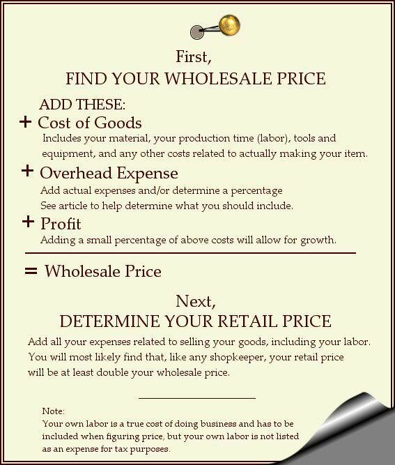 pricing handmade goods Craft Business Pinterest Homemade - business startup costs spreadsheet