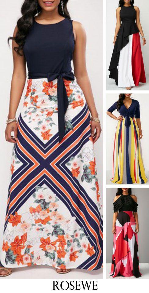 02c08b44c8d Sleeveless Flower Print Belted Maxi Dress. Rosewe maxidress casualstyle