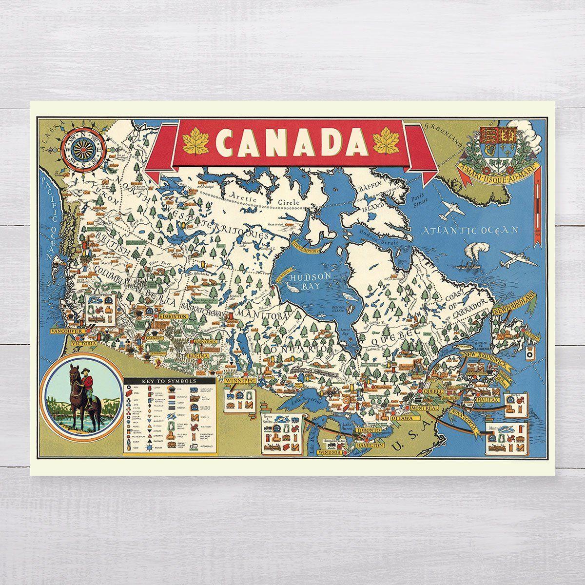 Map of Canada Retro 28 x 20'' Print + Hanging Kit Paper