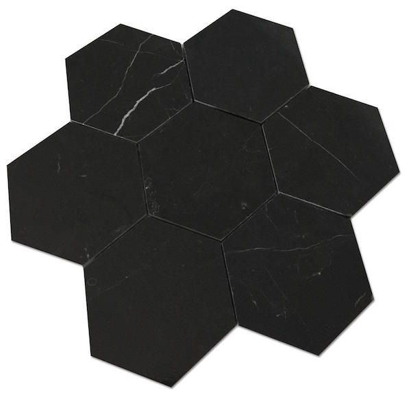 Nero Marquina Black Marble 5 Hexagon Honed Mosaic