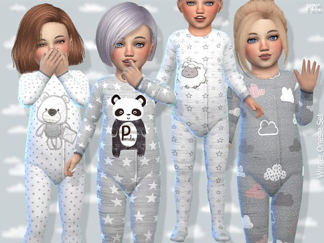 Sims 4 CC's - The Best: Toddler Winter Onesie Set by Pinkzombiecupcake #toddlers