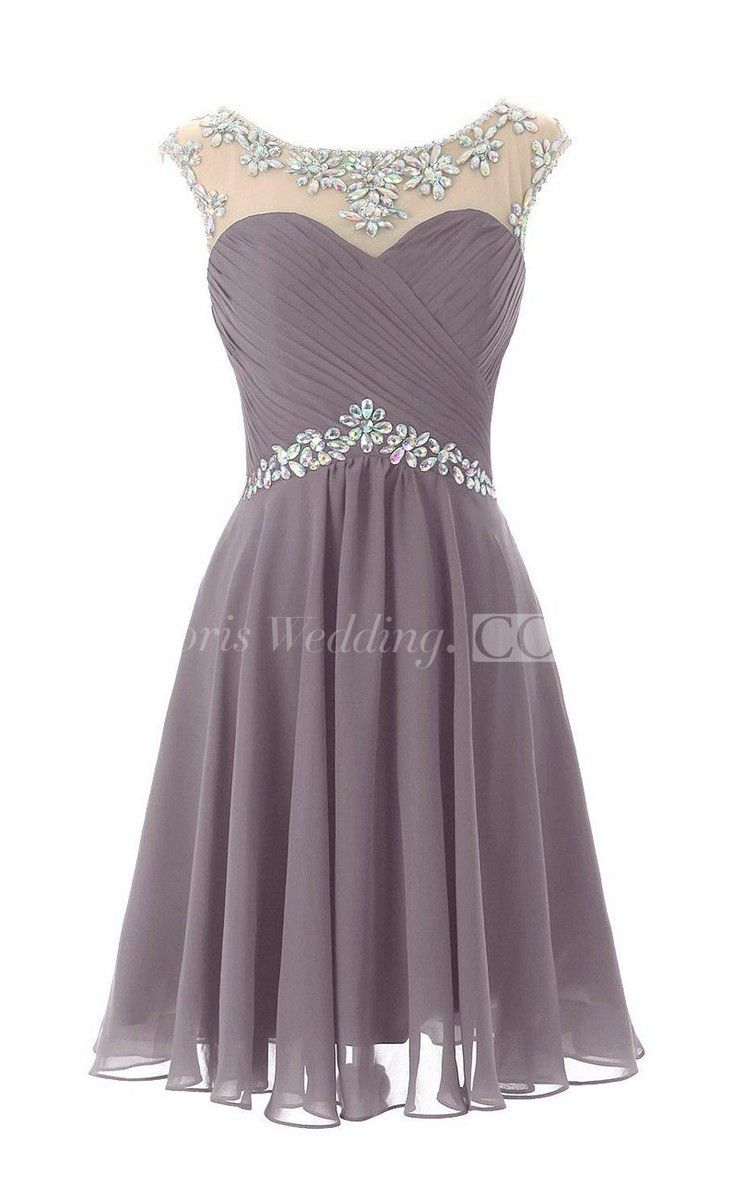 Capsleeved chiffon dress with beading and keyhole back in