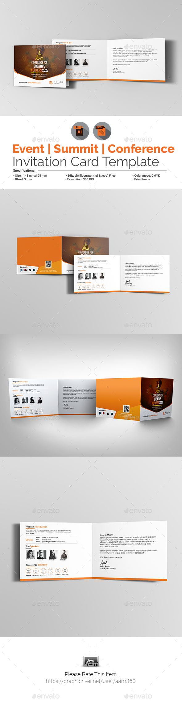 Event Conference Invitation Card Template Cards