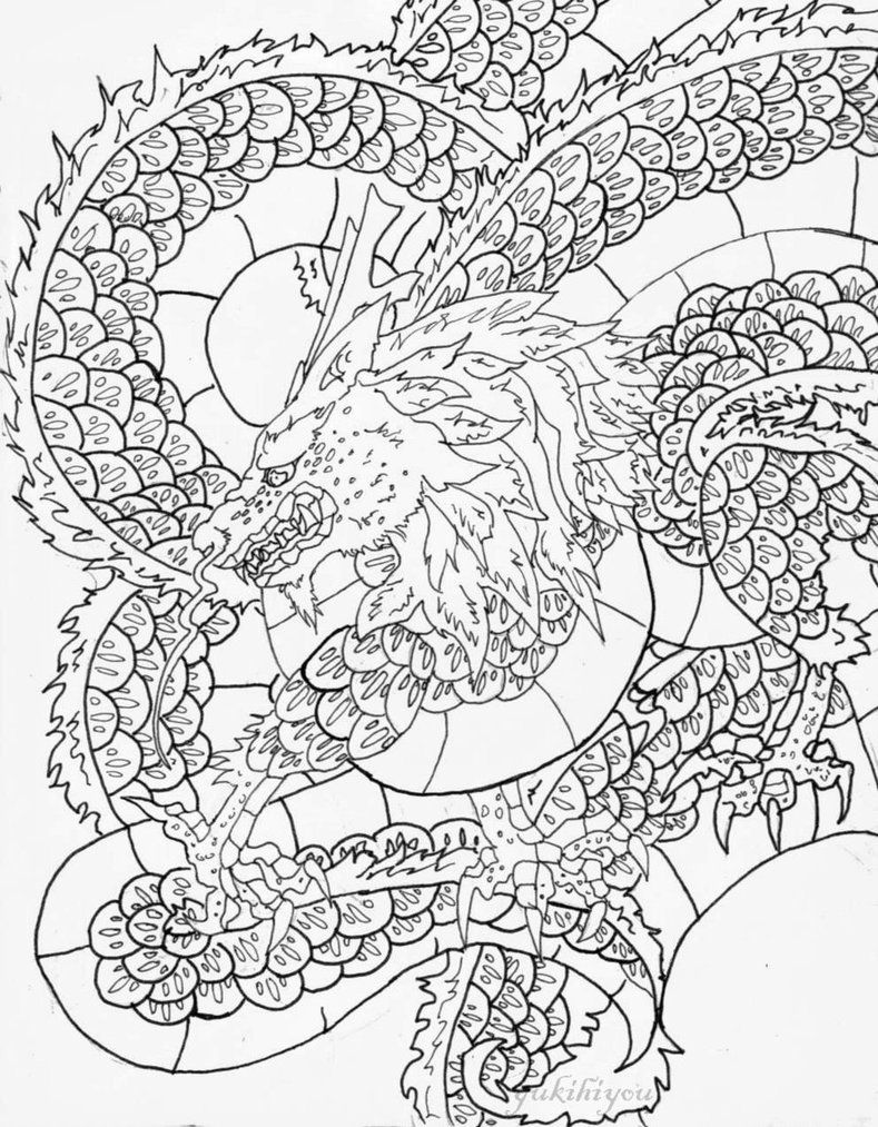 fantasy coloring pages - Google Search | Tiger & Drachen Japanisch ...